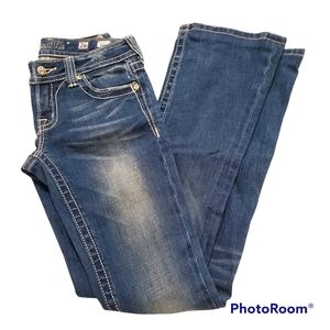 Miss Me faded medium wash low rise bootcut jeans w26